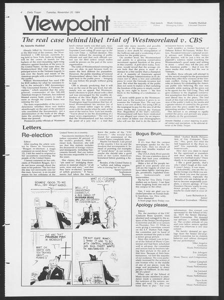 Daily Trojan, Vol. 97, No. 55, November 20, 1984
