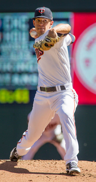. Minnesota Twins starting pitcher Jose Berrios delivers during the first inning of a baseball game against the Cleveland Indians, Sunday, Sept. 11, 2016, in Minneapolis. (AP Photo/Paul Battaglia)