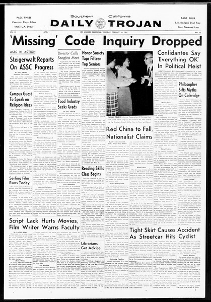 Daily Trojan, Vol. 52, No. 72, February 16, 1961