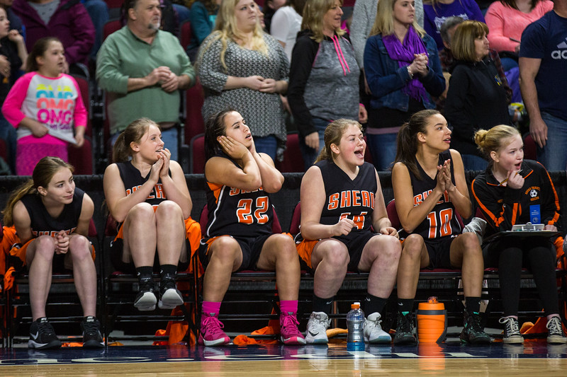 BANGOR, MAINE -- 02/25/2017 -- Shead's benched players react to their teammates grabbing a rebound in the final minute their class D girls championship game against Southern Aroostook on Saturday morning at the Cross Insurance Center in Bangor. Micky Bedell | BDN