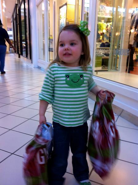Mommy's big shopping helper