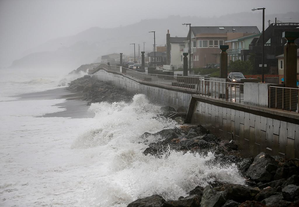 . Waves crash the coastline in Pacifica, Calif., on Thursday, Dec. 11, 2014. (John Green/ Bay Area News Group)