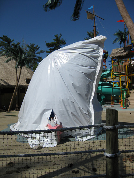 Bruce, the Castaway Island shark, was winterized in plastic.