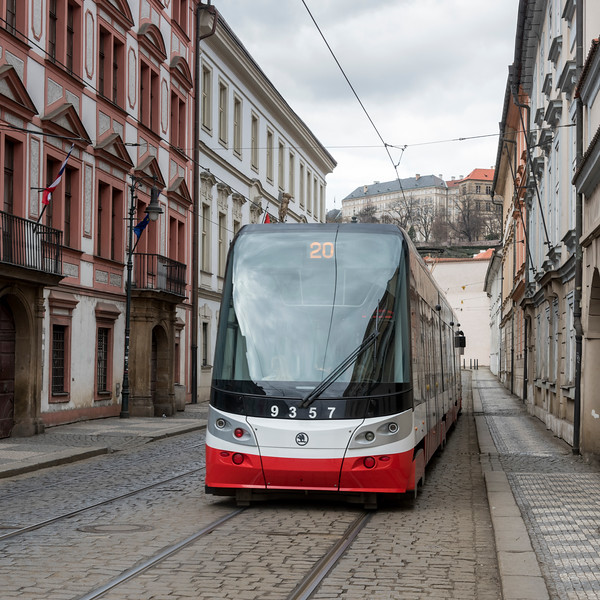 Tram moving on city street, Prague, Czech Republic