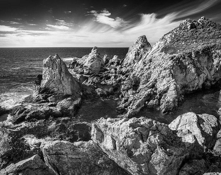 Rocky Point Big Sur California Oceanscape Black and White