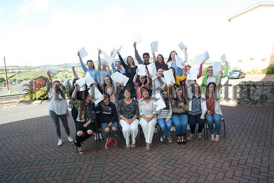 Students from St Marys High School celebrate their GCSE results with Principal Margo Cosgrove and VP Denise Crawley. R1535013