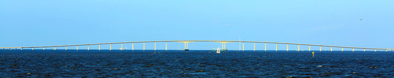 The Dauphin Island Parkway Causeway on the way to Mobile Bay.  See that shrimp boat?