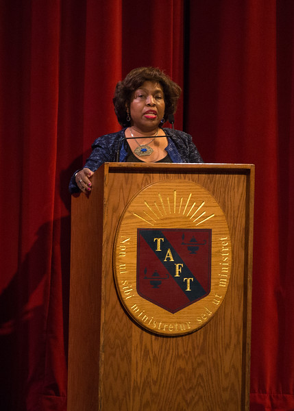 Colombia University Chaplain Jewelnel Davis speaks at Morning Meeting