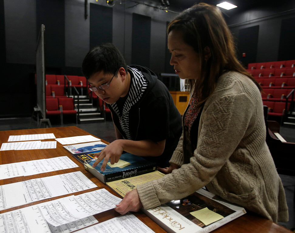 . Joo Jun, left, looks at music with while Dolores Duran, musical director for Great America, during a casting call for Great America theme park for their various characters and dancers in Hall Todd Theatre at San Jose State University on Wednesday, Feb. 6, 2013.  (Nhat V. Meyer/Staff)