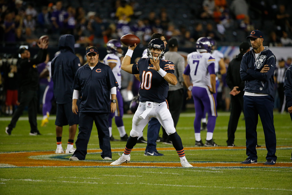 . Chicago Bears quarterback Mitchell Trubisky (10) warms up before an NFL football game against the Minnesota Vikings, Monday, Oct. 9, 2017, in Chicago. (AP Photo/Charles Rex Arbogast)