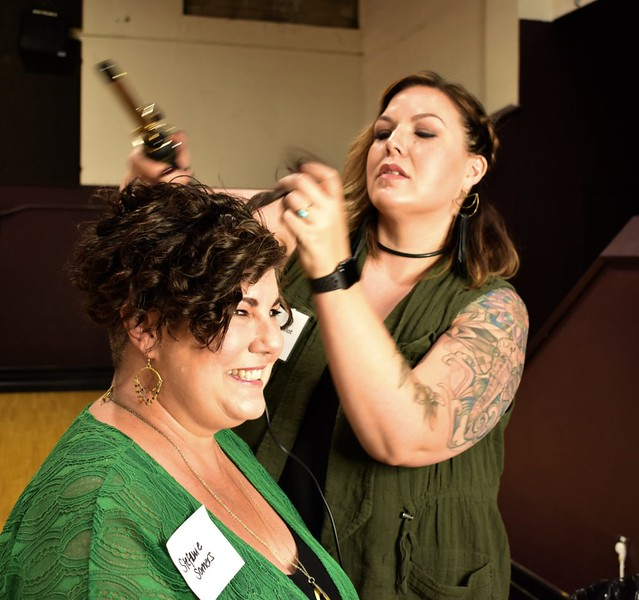 Sarah Sewalelot, owner of the Refinery Salon, works on a makeover with Stefanie Somers of Edmonds.  Photo by Julia Wiese, My Edmonds News