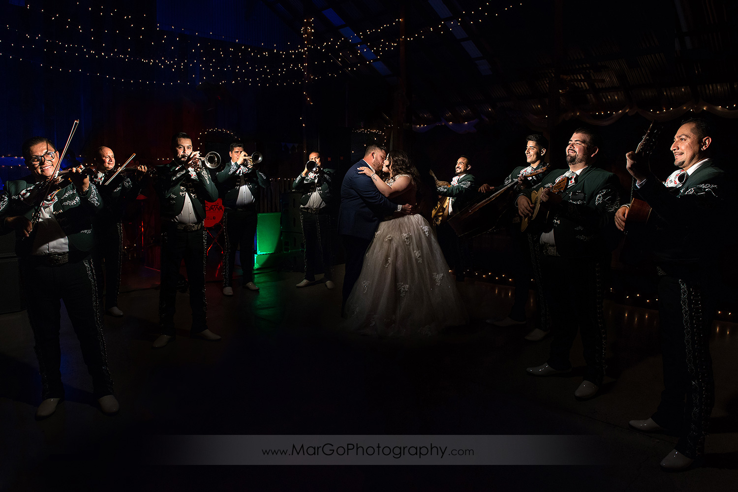 first dance of bride and groom in mariachi circle during wedding recetpion at Taber Ranch Vineyards