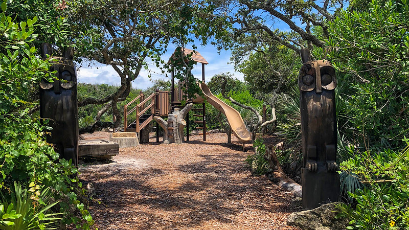 Playground entrance in woods