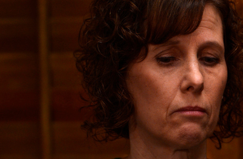 . Jane Dougherty speaks to media before testifying to Colorado lawmakers on a universal background check bill for private gun sales, March, 04, 2013, at the Colorado State Capitol. Dougherty\'s sister, Mary Sherlach, was killed at Sandy Hook. (Photo By RJ Sangosti/The Denver Post)