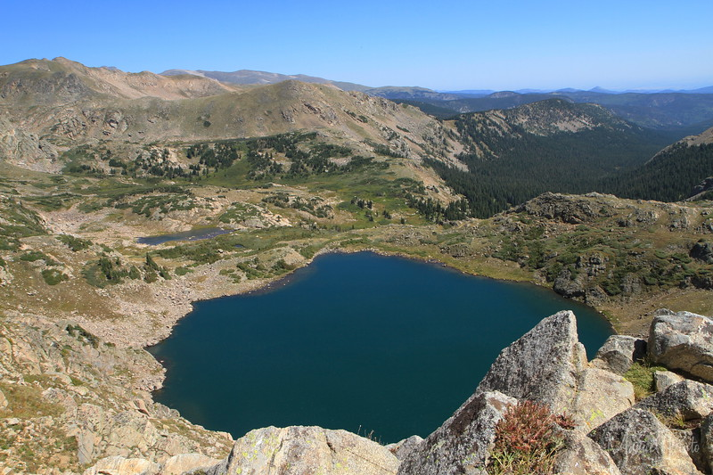 Kings Lake seen from above on the ridge of the Continental Divide looking east