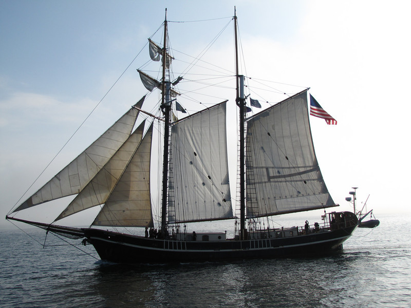 Unicorn, a 116 foot square topsail schooner, has an all-female crew.