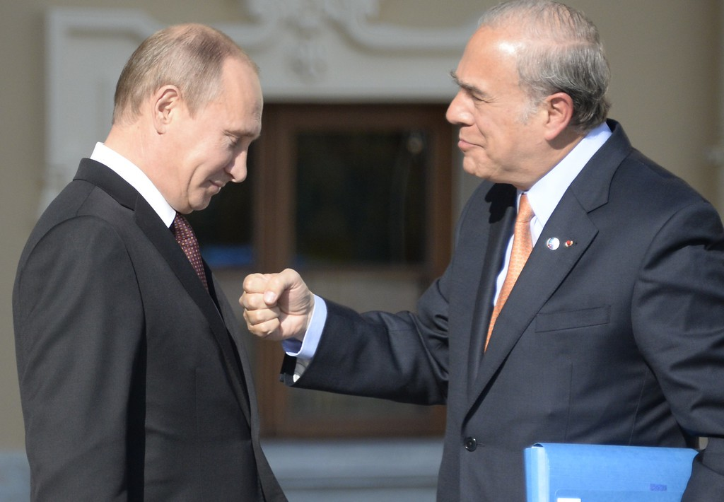 . Russias President Vladimir Putin (L) welcomes Organization for Economic Co-Operation and Development (OECD) Secretary General Jose Angel Gurria at the start of the G20 summit on September 5, 2013 in Saint Petersburg.   AFP PHOTO / ALEXANDER  NEMENOV/AFP/Getty Images
