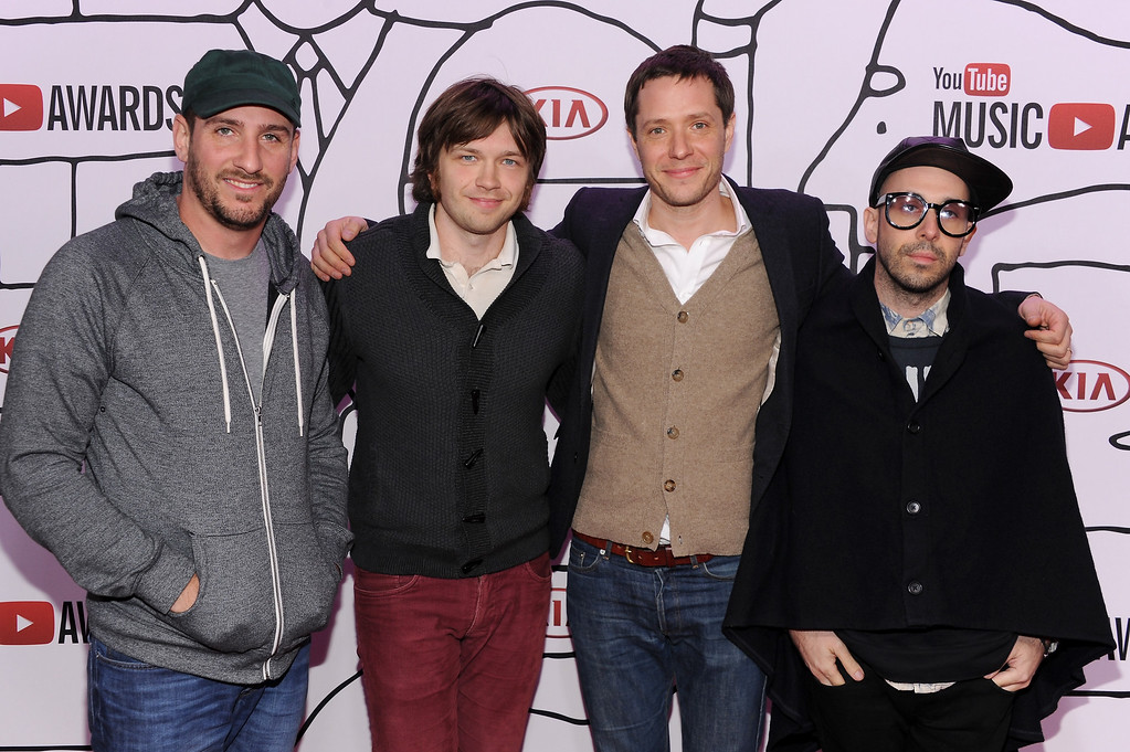. (L-R) Dan Konopka, Andy Ross, Tim Nordwind and Damian Kulash of OK GO attends the YouTube Music Awards 2013 on November 3, 2013 in New York City.  (Photo by Dimitrios Kambouris/Getty Images)