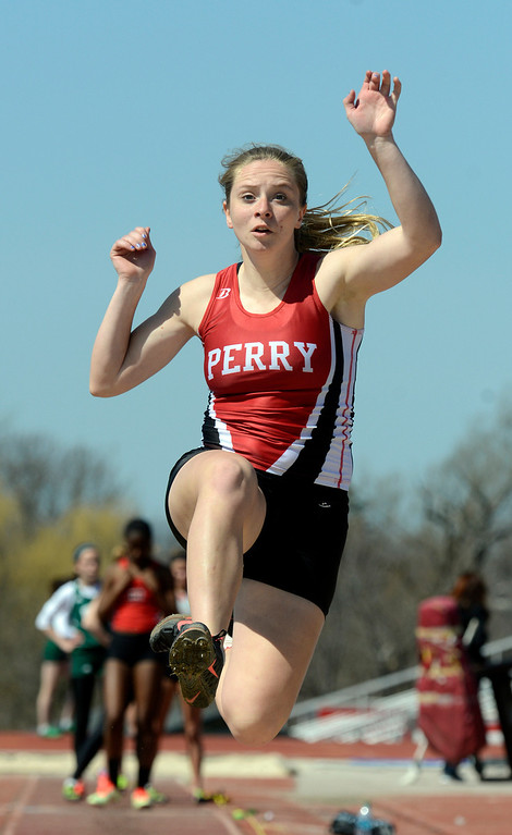 . Maribeth Joeright/MJoeright@News-Herald.coms<p> Perry\'s Dana Crofoot took second place in the girls long jump during the Hilltopper Invitational meet at Chardon High School, April 12, 2014.