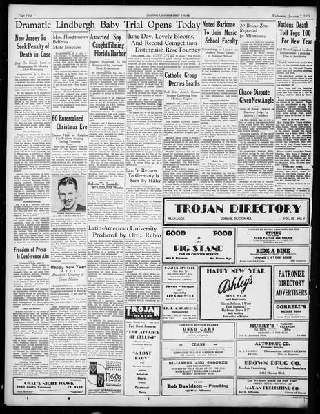Daily Trojan, Vol. 26, No. 56, January 02, 1935