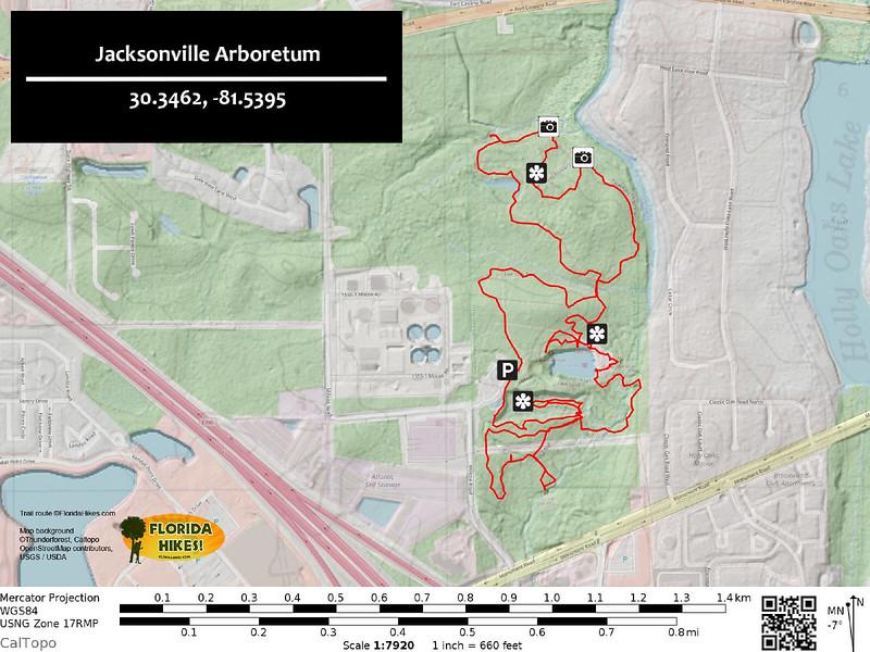 Jacksonville Arboretum Trail Map