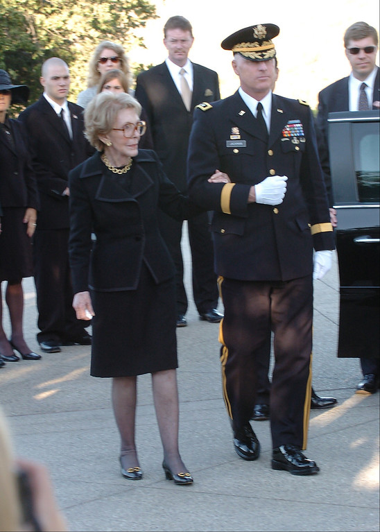 . 6/11/04--Simi Valley-- The First Lady, Nancy Reagan during funeral services for the 40th President at the Ronald Reagan Library in Simi Valley, Ca, Friday, June 11th, 2004. (Los Angeles Daily News file photo)