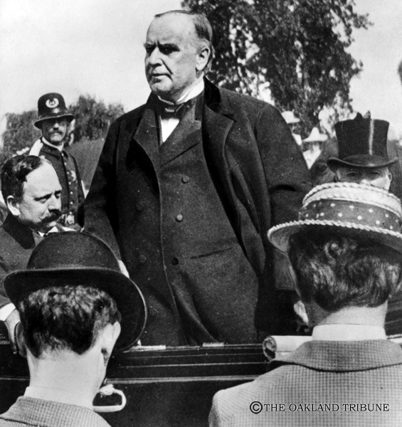 . Oakland, CA May 24, 1904 - President William McKinley addressed an audience from his carriage on Oak Street near Lake Merritt. Seated to his left is Edson Adams, Oakland banker, who headed the welcoming committee and the straw-hatted man with his back to the camera is late Tribune reporter, Colonel Ned O\'Brien. The president was assassinated four months after this photo was taken. (Oakland Tribune Staff Archives)