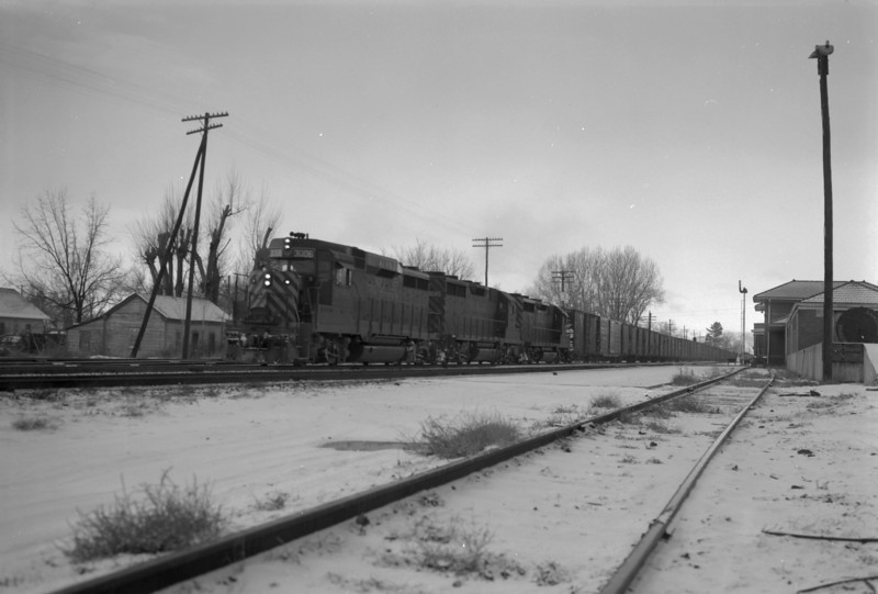 D&RGW passing through Provo. January 1, 1966. <i>(Marvin Black Photo)</i>