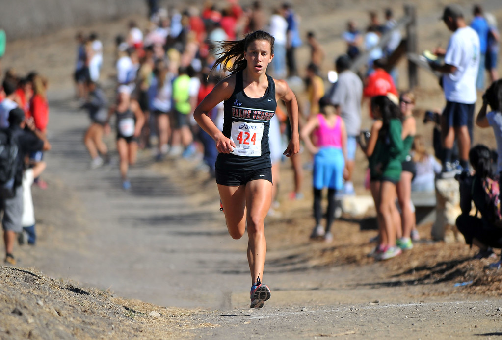 . Peninsula High hosted a Bay League cross country meet in Palos Verdes Estates, CA on Thursday, September 26, 2013.  PV\'s Cassidy Webber cruises to a 2nd place finish. (Photo by Scott Varley, Daily Breeze)