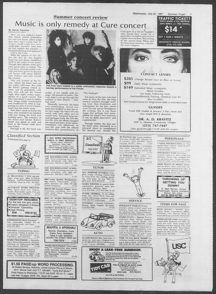 Summer Trojan, Vol. 104, No. 10, July 22, 1987