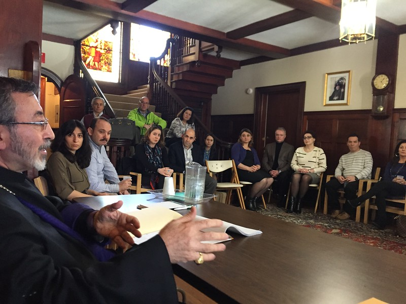 The Primate meeting with a small group of Armenian and Sunday School parents on Saturday afternoon, March 18.