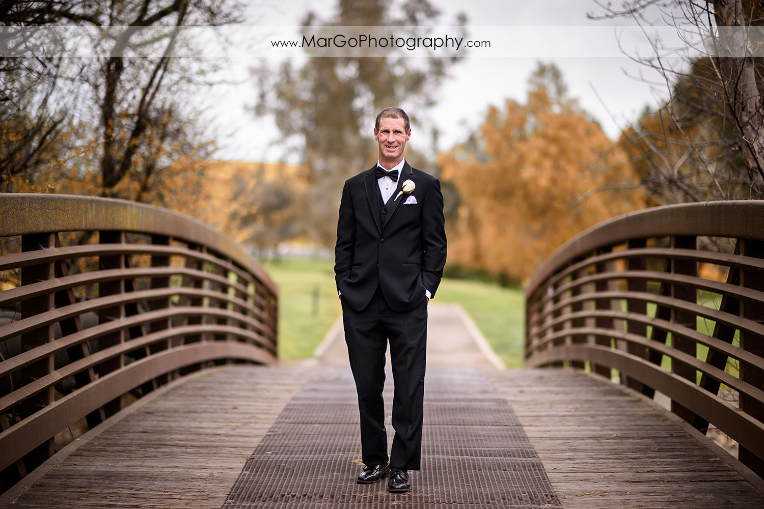 groom at the bridge at Las Positas Golf Course in Livermore