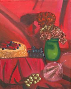 """Wine Glass & Flowers"" (oil on canvas) by David Fleshman"
