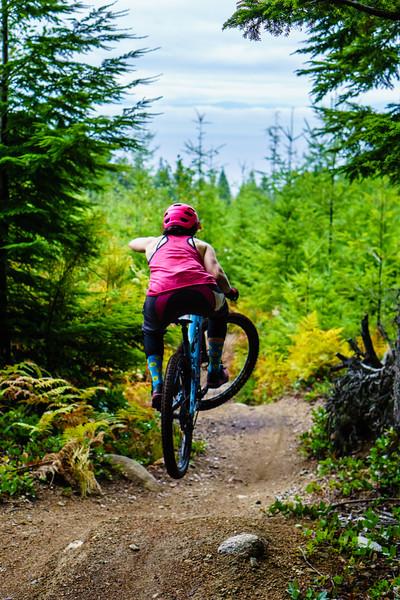 Carolyn Stwertka rides Mach Chicken near Roberts Creek, British Columbia.