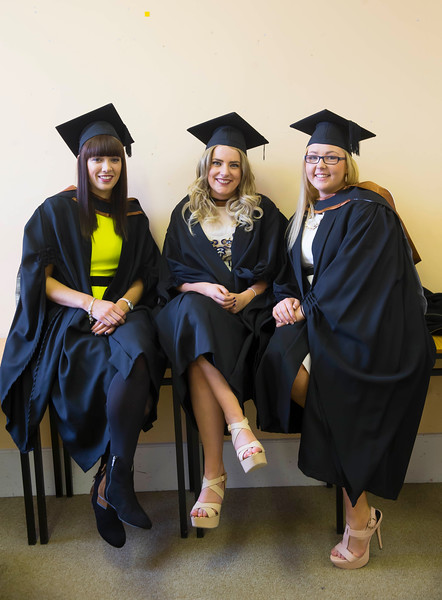 29/10/2015. Waterford Institute of Technology conferring. Pictured are Ciara Coughlin, New Ross, Mary O'Grady, Kilkenny and Zoe O'Hanlon, Tipperary who graduated Bs (Hons) in Intellectual Disability Nursing. Picture: Patrick BrownePicture: Patrick Browne