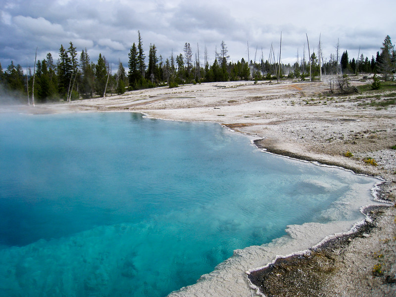 Black Pool at West Thumb Geyser Basin (it's not black anymore after a shift in temperature)