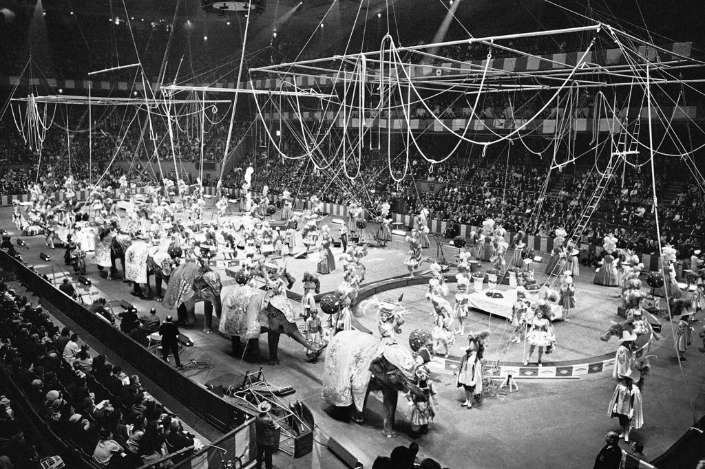 . The �spectacular� act, of the Ringling Bros. and Barnum and Bailey Circus is seen as the circus opens in Madison Square Garden in New York on April 5, 1966. (AP Photo/John Lent)