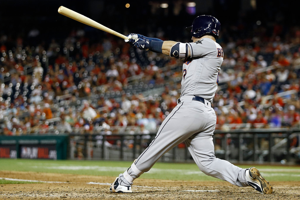 . Houston Astros Alex Bregman (2) hits a solo home run in the tenth inning during the Major League Baseball All-star Game, Tuesday, July 17, 2018 in Washington. (AP Photo/Patrick Semansky)