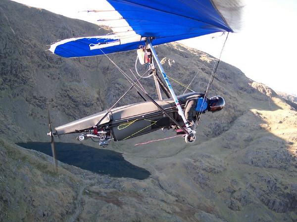 Power hang gliding over Coniston