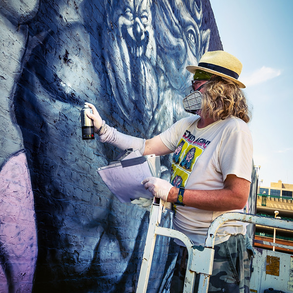 ron english mural artist at work