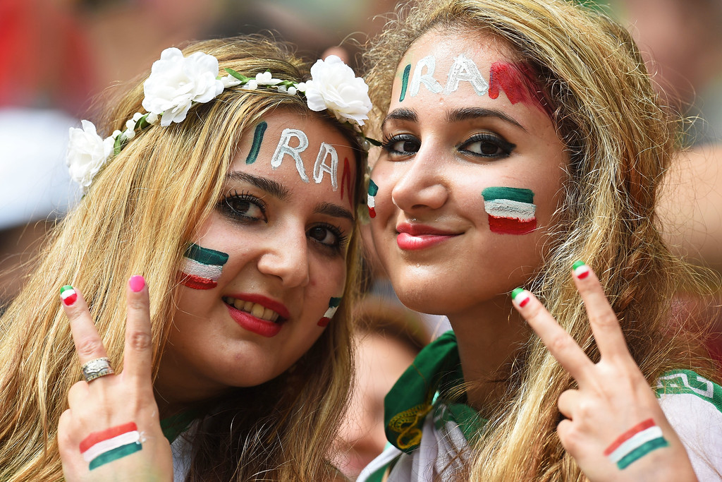 . Iran fans pose during the 2014 FIFA World Cup Brazil Group F match between Bosnia and Herzegovina and Iran at Arena Fonte Nova on June 25, 2014 in Salvador, Brazil.  (Photo by Jamie McDonald/Getty Images)