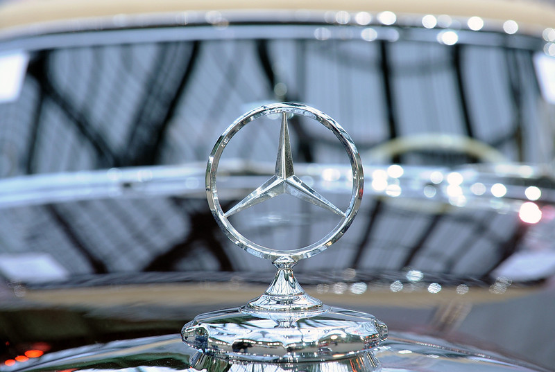 . A Mercedes logo is seen on a vintage car, during an exhibition by Bonhams auction house, at Le Grand Palais on February 5, 2014 in Paris, France.  (Photo by Antoine Antoniol/Getty Images)