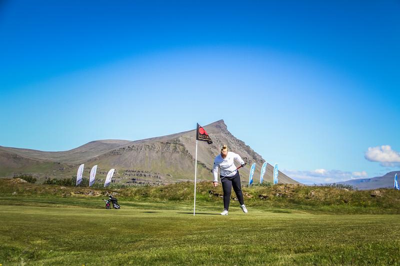 Amanda Guðrún Bjarnadóttir, GHD, á 9. flöt á Garðavelli.  Mynd/seth@golf.is