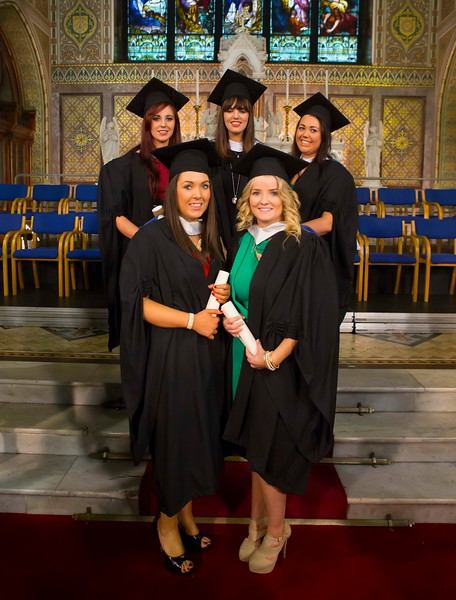Waterford Institute Of Technology Conferring. Pictured at WIT Waterford Institute Of Technology Conferring are Stephanie O'Brien, Kilkenny, Josephine O'Connor, Wexford, Niamh Bourke, Wexford, Lorraine Watchorn, Kilkenny, Rachel O'Donnell, Tipperary who  graduated Bachelor of Arts in Social Care. Picture: Patrick Browne