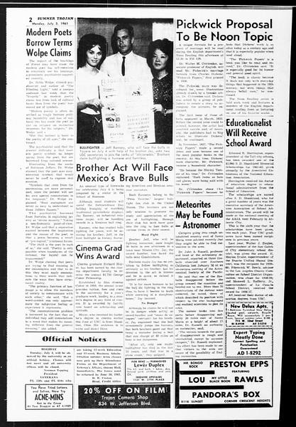 Summer Trojan, Vol. 11, No. 4, July 03, 1961