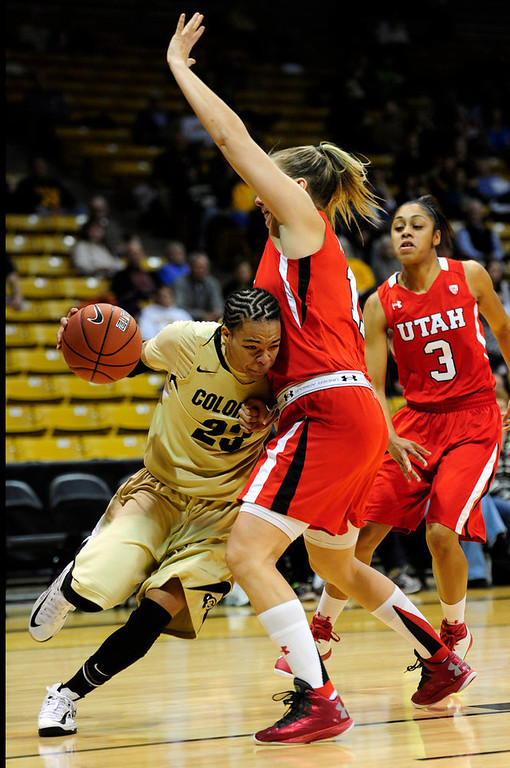 . Colorado\'s Chucky Jeffery (left) collides with Utah\'s Taryn Wicijowski (right) during their basketball game at the University of Colorado in Boulder , Colorado January 8, 2013. BOULDER DAILY CAMERA/ Mark Leffingwell