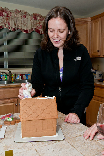 Sasha starts off our awesome ginger bread house!