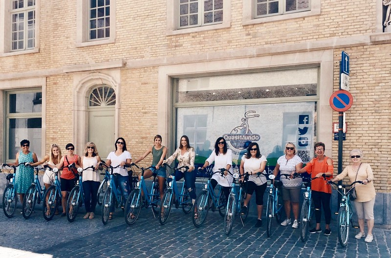 Susan, Ally, Me, Erin, Lora, Emma, Rebecca, Laura, Suzy, Bambi, Debbie, Vickie before our bike tour of the Belgian countryside