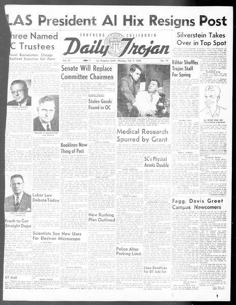 Daily Trojan, Vol. 40, No. 73, February 07, 1949