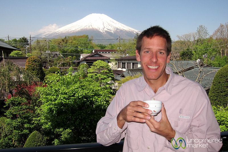 Dan Drinking Green Tea at Mount Fuji, Japan